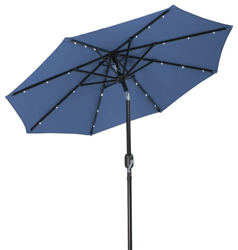 7 solar led patio umbrella blue outdoor umbrellas by trademark innovations