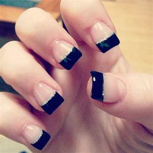 Black French tip gel with silver glitter line | Great ...