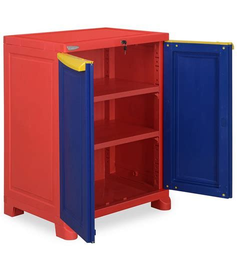Buy Freedom Small Cabinet in Red & Blue Colour by Nilkamal