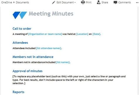 meeting minutes templates  word