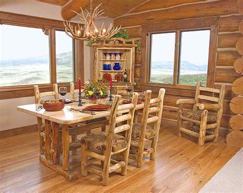 rustic log dining room furniture aspen log dining room