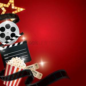Cinema background with movie objects Vector Image ...