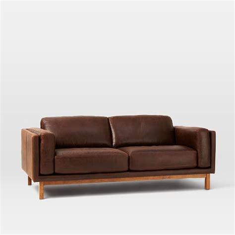 west elm leather dekalb leather sofa 85 quot west elm