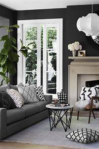 Gray Couch With Dark Walls Living Room Inspiration Best