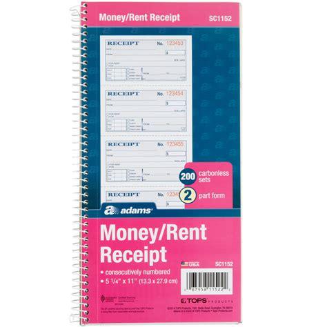 sc1152 2 part blue and white carbonless rent receipt