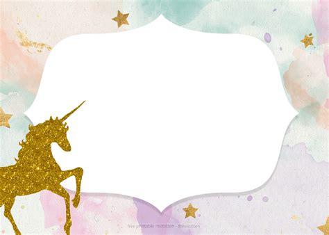 printable golden unicorn birthday invitation template