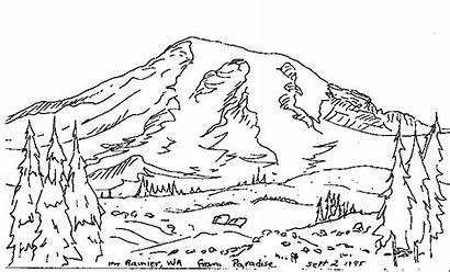 Rainier Mt Drawing Coloring Sketch Mount Sketches