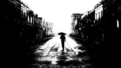 artwork digital art umbrella building street black