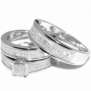 Mens wedding ring white gold diamond for Men and women matching wedding rings