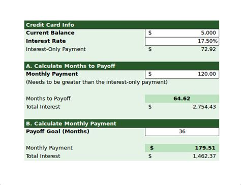 sample credit card payoff calculator  documents