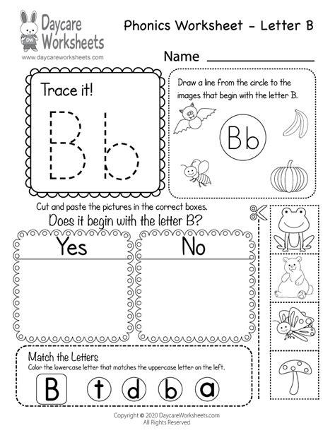printable letter  beginning sounds phonics worksheet