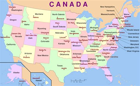 map   united states  state names  capitals