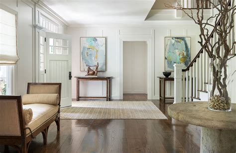 cool wide plank flooring technique  metro transitional entry decoration ideas  chaise