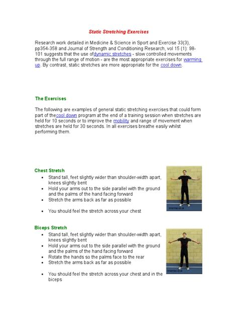 Static Stretching Exercisesdoc Anatomical Terms Of