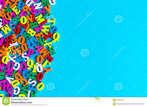 letters on blue background composed from colorful