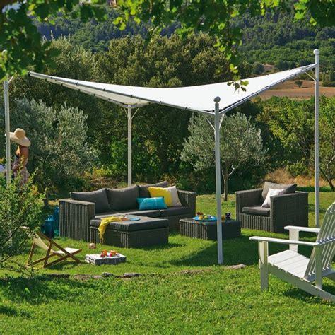 belna tonnelle blanche avec toile suspendue imperm 233 able 3 5m contemporain jardin autres