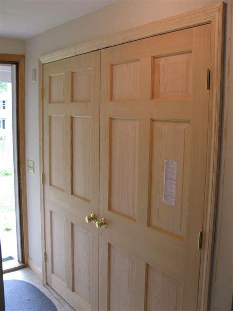 Bedroom White Pine Wood Sliding Closet Doors Combined