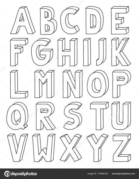 Alphabet Outline 3d Outline Alphabet From Letter A To Z In A4 Sheet Stock