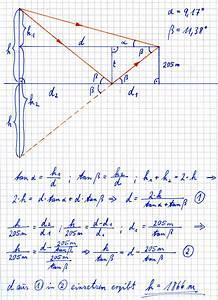 Trigonometrie Höhe Berechnen : trigonometrie aufgabe mit spiegelbild onlinemathe das mathe forum ~ Themetempest.com Abrechnung
