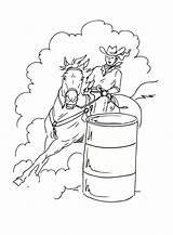 Barrel Racing Coloring Horse Drawing Printable Rodeo Rider Horses Barrels Jam Cherry Breyer Horseshoe Adult Crafts Event Attempt Sheets Events sketch template