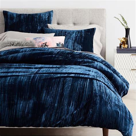blue velvet duvet cover crinkle velvet duvet cover shams west elm