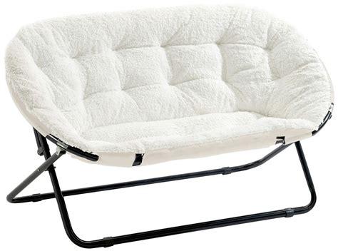 Urban Shop Double Saucer Chair, White Sherpa Ebay
