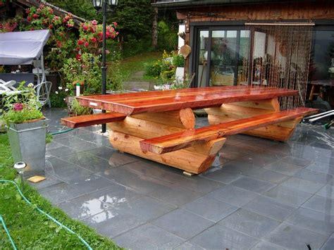 banc table tables maison bois rond