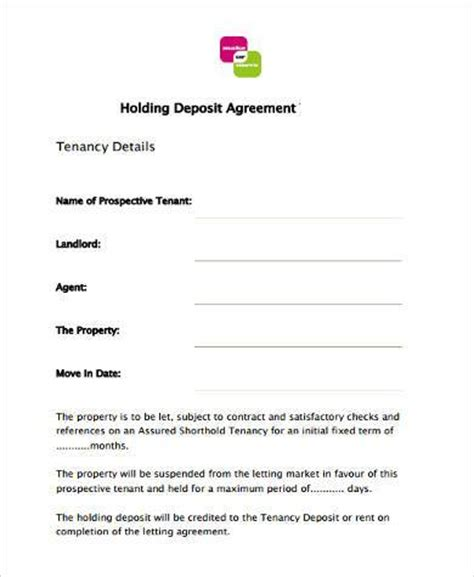 sample tenancy deposit forms   ms word
