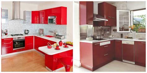 cocinas en rojo blanco decoracion cocina madera negro