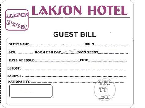 hotel bill formats  word word excel  formats