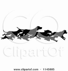 Clipart of a Retro Vintage Silhouetted Border of Running ...