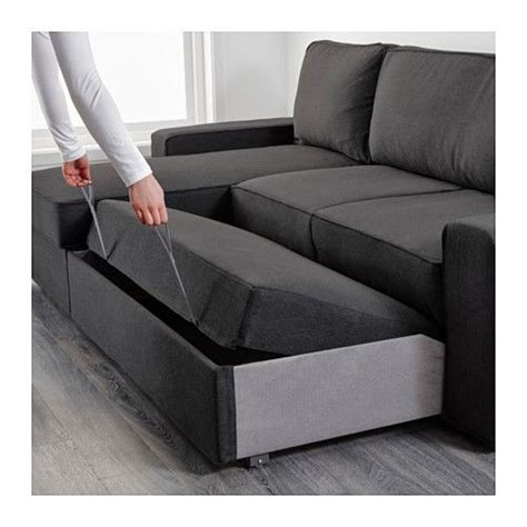 vilasund sofa bed  chaise longue dansbo dark grey