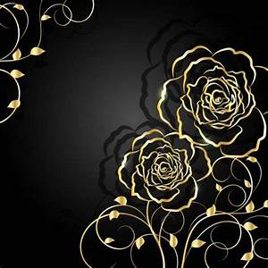 Golden Flower With Black Background Vector 01 Free Download