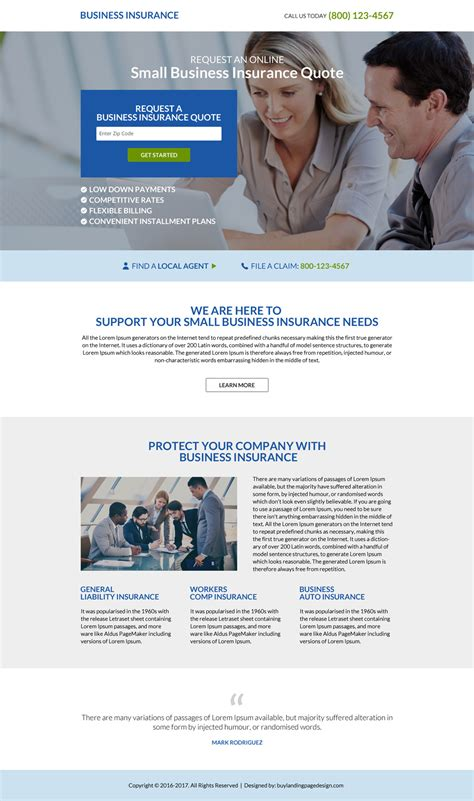 business insurance quotes landing page design discount offer on easter and friday