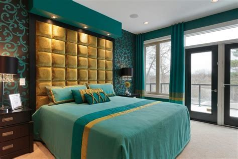 bedroom in teal and gold asian los angeles with drawer