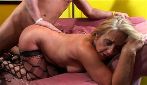 Hot Granny In Fishnet Stockings Gets Brutally Fucked From