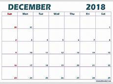 December 2018 Calendar Editable Printable Printable