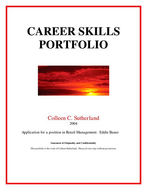 professional portfolio template career portfolio cover page free chlain college publishing