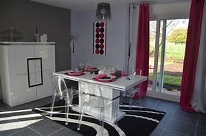 salon salle a manger gris et rose contemporary other With salle a manger noir et gris