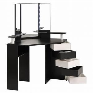 Coiffeuse Meuble Noir : glam coiffeuse style contemporain d cor noir et blanc avec miroir led l 114 cm achat vente ~ Farleysfitness.com Idées de Décoration
