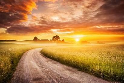 Sunrise Country Road Landscape Nature Istock Morning