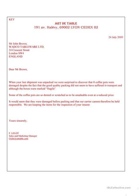 letter complaint worksheet  esl printable