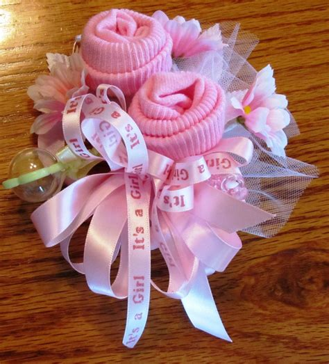 Baby Shower Pins For Corsages Baby Sock Corsage Handmade Baby Sock Shower Corsage By
