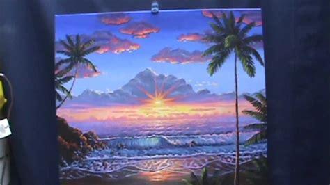 dipingere il tramonto sulla spiaggia  acrilico