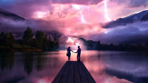 electric love couple holdings hands  pier hd love