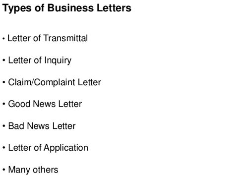 types  business letters