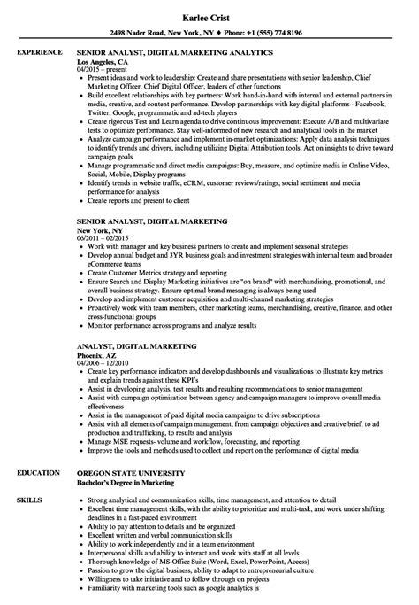 analyst digital marketing resume samples velvet jobs