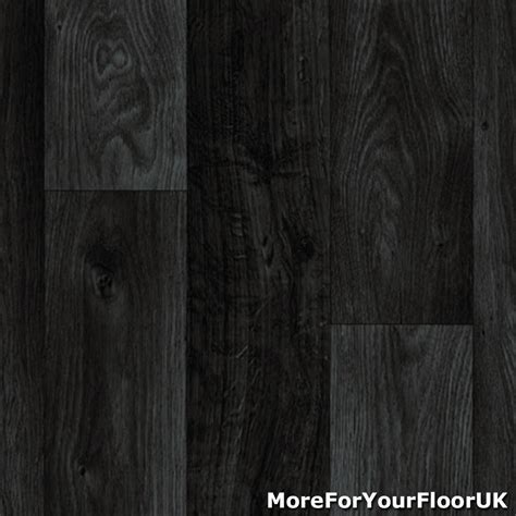 Black Dark Grey Wood Plank Vinyl Flooring, Slip Resistant