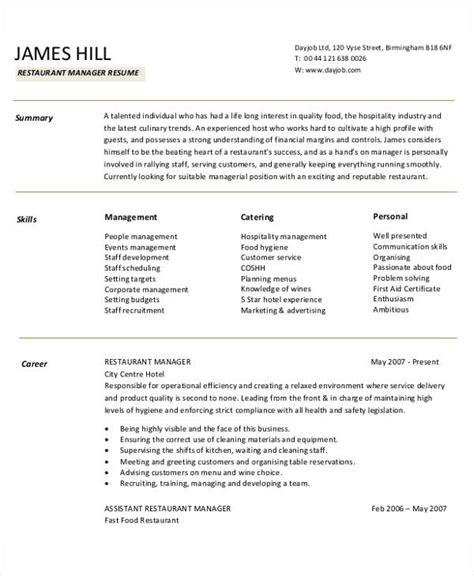 example of restaurant resume 54 manager resumes in pdf free premium templates