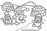 Coloring Igloo Alaska Penguin Winter Printable Ice Sheets Snow Drawing Clipart Activities Cartoon Craft Neo Cap Getcolorings Frozen Template sketch template